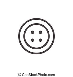Sewing button line icon isolated on white. Vector...