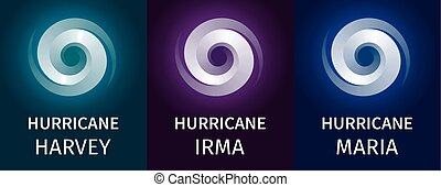 Graphic banner of hurricanes Harvey, Irma, Maria. Icon /...