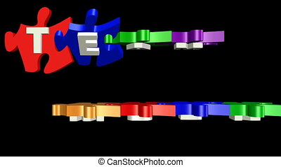 3d puzzle pieces with inscription team work. Puzzles in distinctive colors gradually turn from horizontal to vertical