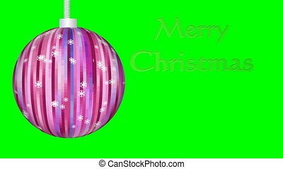 Merry Christmas animation, xmas ball with snowflakes, golden...