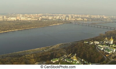 Aerial view of the Dnieper River in Kiev
