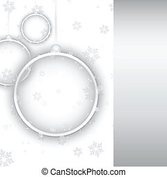 Silver Neon Christmas Ball on White Background