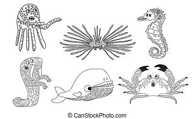 Marine inhabitants set - Vector illustration of a six marine...