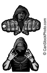 Two rappers on white - Vector illustration of two rappers on...