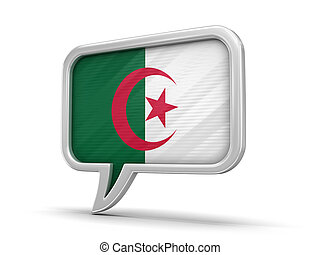 Speech bubble with Algerian flag. Image with clipping path