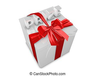 Prize - Special prize gift box 3d render isolated on white