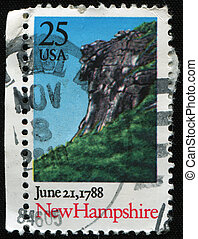 New Hampshire, 1788 - UNITED STATES - CIRCA 1988: A stamp...