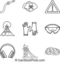Tragical icons set, outline style - Tragical icons set....