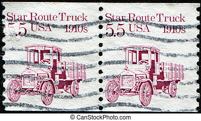 Star Route Truck 1910s - UNITED STATES - CIRCA 1986: a stamp...