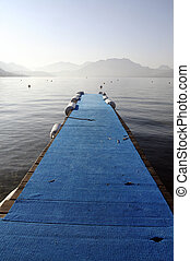 Annecy lake blue pontoon, France - Annecy lake and...