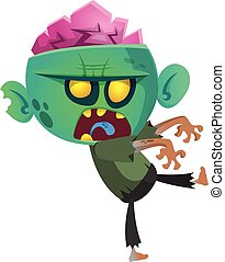 Cartoon zombie. Halloween vector illustration of walking...
