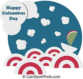 Happy Columbus Day. Marine Landscape with Ships