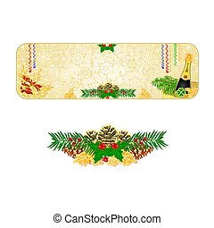 Banner Christmas snowflakes New Year midnight toast and pine...