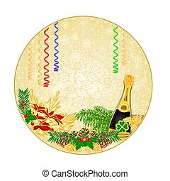 Button circle New Year midnight toast and pine cones with...