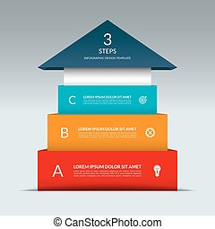 Up arrow infographic template. Business sucess staircase...