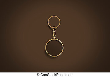 Blank gold round black key chain mock up top view, 3d...