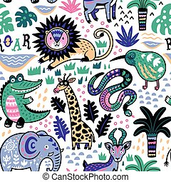 Fashion safari seamless pattern with jungle animals in...