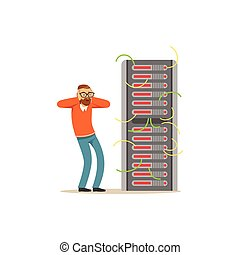 Anxiety technical specialist repairing server hardware...