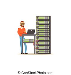 Network engineer administrator working in data center using...