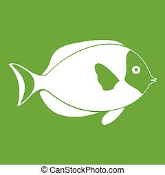 Fish icon green - Fish icon white isolated on green...
