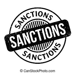 Sanctions rubber stamp. Grunge design with dust scratches....