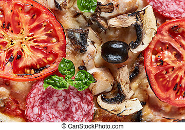 Closeup of pizza with salami, tomatoes and olives - Closeup...