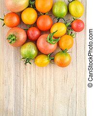 körsbär, homegrown, färgrik, tomaten