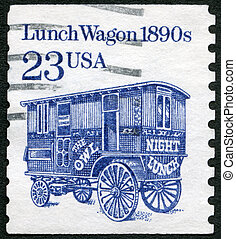 USA - 1990: shows Lunch Wagon 1890s, series Transportation...