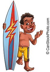 surf boy - young brown boy with a surf board and yellow...
