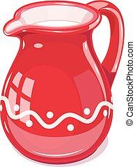Red Ceramic jug with milk. Fictile tableware. Capacity for...