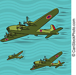 Military Planes - Cartoon illustration of military planes in...