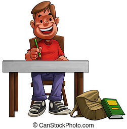 hard student - a young hard student doing his home work