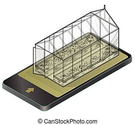 Outlined vector isometric greenhouse with glass walls in...