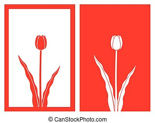 red tulip vector - isolated red tulip flower,vector...