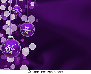 Christmas Ornaments - A purple christmas ball on a blue...