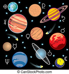 planets solar system - collection of vector images of