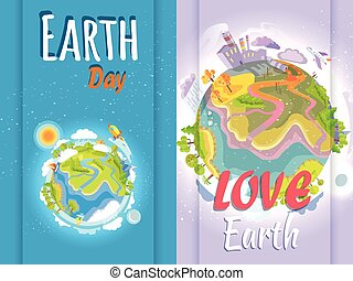 Earth Day Banner of Clean and Polluted Planets - Earth Day...