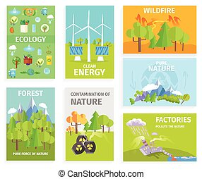 Set of Banners Dipicting Environmental Issues - Vector...