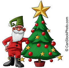 gnome and tree - santa claus gnome near to a christmas tree