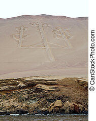 Mysterious calendar in Paracas, Peru, on the sand of the...