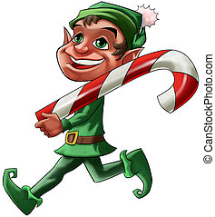 elf with candy - smiling Christmas elf walking with a big...