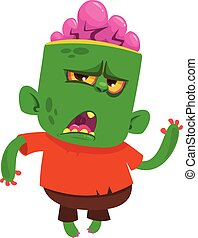 Green zombie walking. Halloween vector illustration of...
