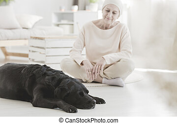 Woman with cancer and dog - Pet therapy providing woman with...