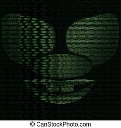 Mask of the grotesque cyber clown - Illustration of mask of...