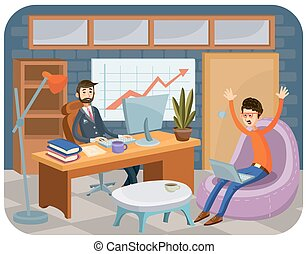 Vector cartoon illustration of a leader with a subordinate....