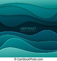 Realistic paper cut background. - Realistic dark green paper...