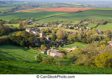 Corton Denham in Somerset - High view of Corton Denham, a...