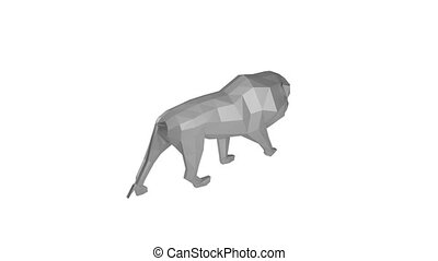 Low Poly Animal - Low poly lion rotating on the white...