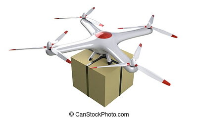 Small quadrocopter drone delivers a package. Isolated on the...