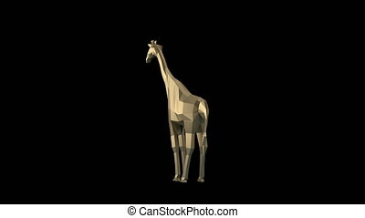 Low Poly Animal - Low poly giraffe rotating on the white...